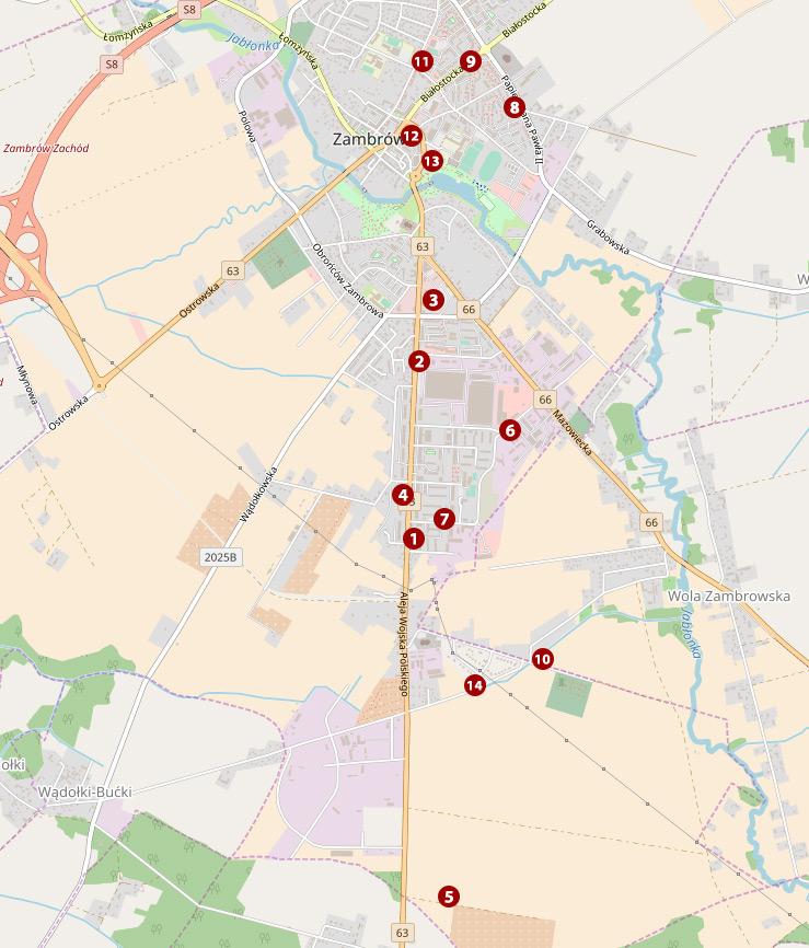 mapa przystanków autobusowych w Zambrowie